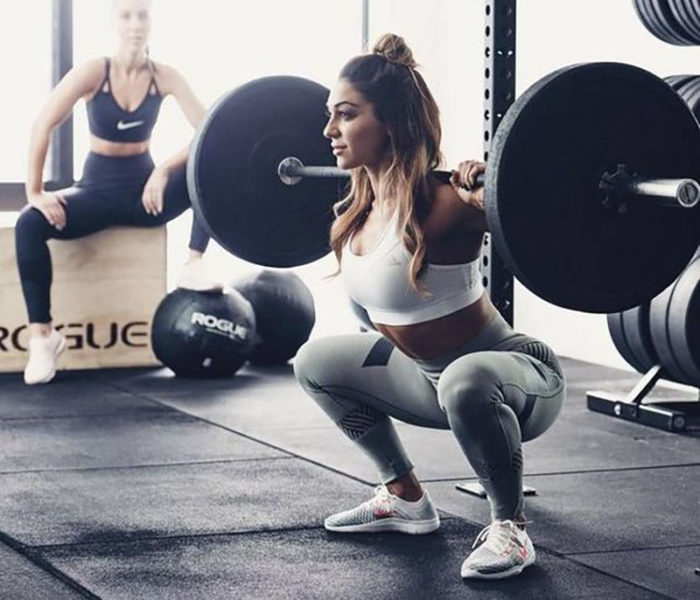 woman doing a squat
