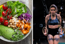 Bowl of vegan food featuring high protein beans next to a woman performing ring push ups to build muscle