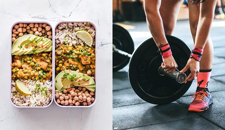 High-protein vegan meal and a woman loading weights onto a barbell
