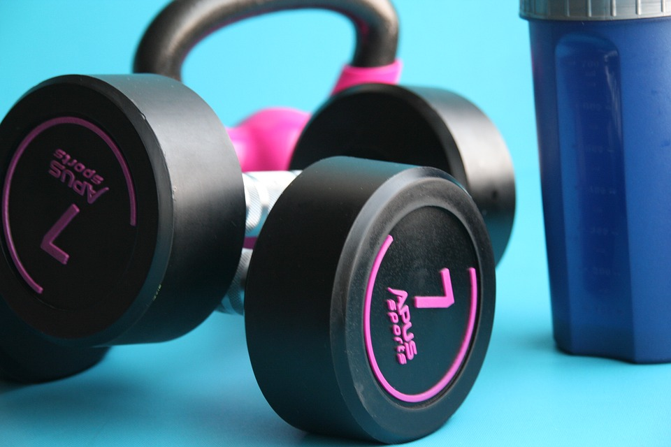 Pair of black dumbbells